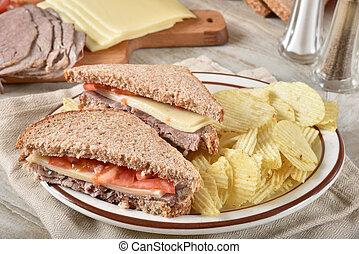 roast beef and swiss cheese sandwich