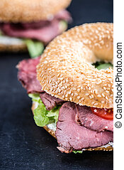 Roast Beef Bagel (selective focus)