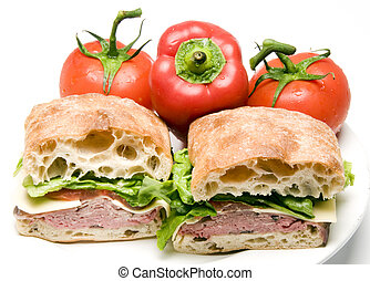 gourmet sandwich roast beef boursin cheese on ciabatta bread