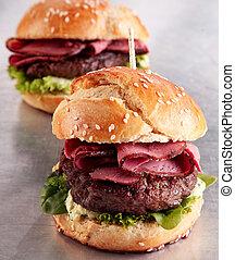 Roast beef burger on a sesame bun