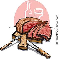 roast beef on the cutting board