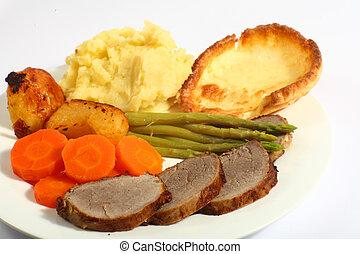 Roast beef dinner horizontal
