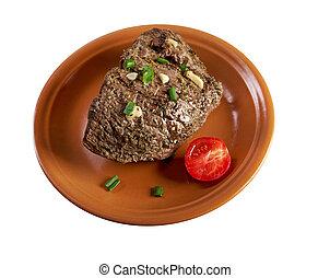 roast beef farm-style. farmhouse kitchen..isolated