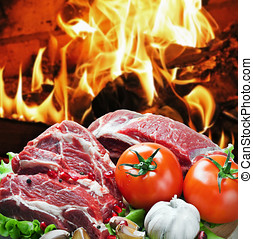 roast beef meat slices with vegetables - roast beef meat...