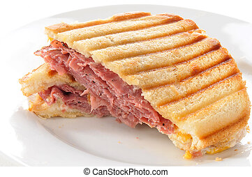 Roast beef panini - A beef panini with swiss and cheddar...