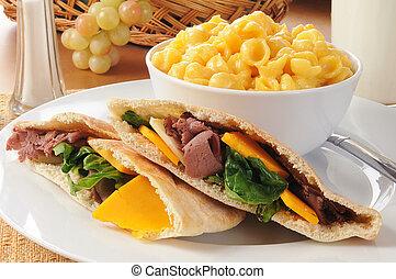 Roast beef pita sandwich