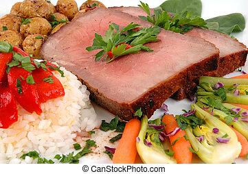 Roast Beef - Roast beef, rice, organic vegetables and baby...