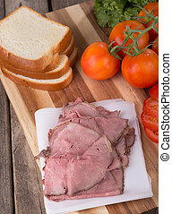 Roast Beef Sandwich Ingedients - Roast beef with sliced ...