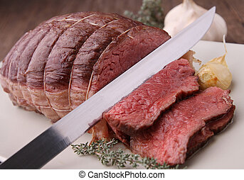 roast beef with knife cut slice
