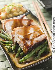 Roast Belly Pork with Fuji Apples and Peanut Beans