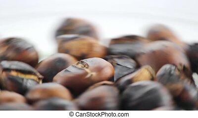 roast chestnut close up