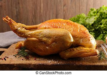 roast chicken on board