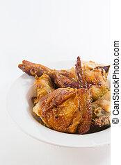 Roast Chicken on Dish with White Background