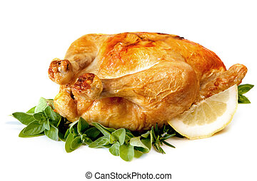 Roast Chicken - Roast chicken, with herbs and lemon,...