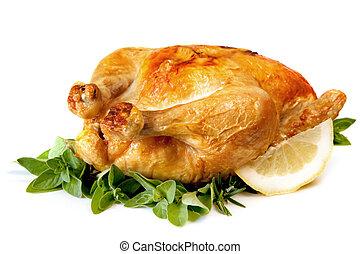 Roast Chicken - Roast chicken, with herbs and lemon,...
