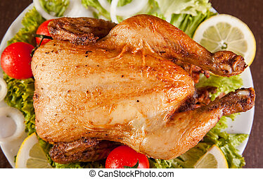 Roast chicken with fresh vegetables