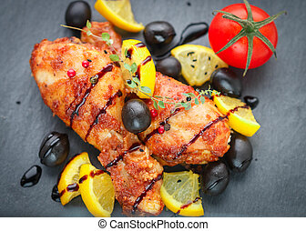 Roast chicken with lemon, olives, tomato and thyme with ...