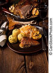 Roast duck with dumplings