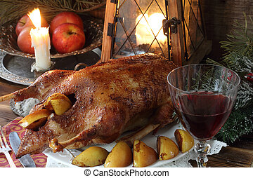 Roast Goose with quince and apples and a glass of red wine