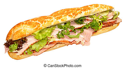 A roast ham baguette sandwich with lettuce, isolated on a white background.