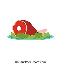 Roast pork knuckle icon, flat style