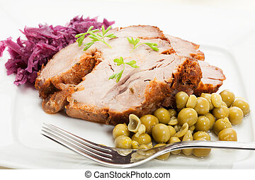Roast pork. Selective focus.
