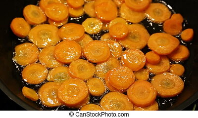 Roast the carrots and pumpkin in a frying pan