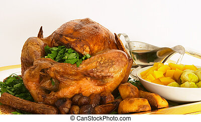 Roast turkey 6 - Roast turkey with all the trimmings on a ...