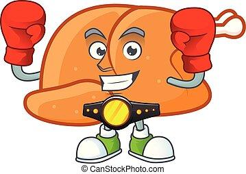 Roast turkey food cartoon with character boxing