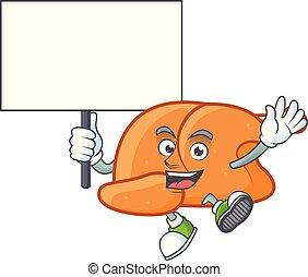 Roast turkey food cartoon with character bring board
