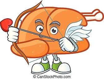 Roast turkey food cartoon with character cupid