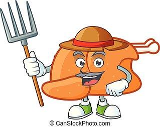Roast turkey food cartoon with character farmer