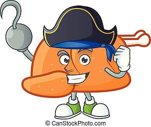 Roast turkey food cartoon with character pirate