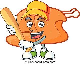 Roast turkey food cartoon with character playing baseball