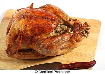 Roast turkey high angle view - View of a roast turkey on a...