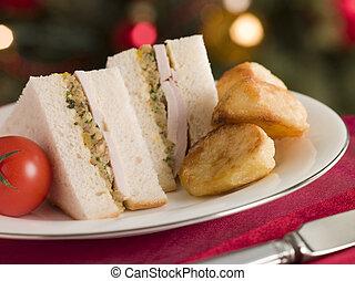 Roast Turkey Stuffing and Mayonnaise Sandwich with Cold Roast Potatoes
