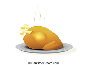 Roast turkey - Vector illustration of a roast turkey on a...
