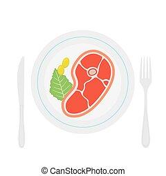 roastbeef, plaque., viande, plat, steak., savoureux, plat, style.