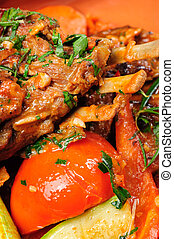 Roasted and stewed lamb carre - Roasted lamb carre covered ...
