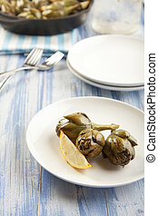 Roasted Artichokes - Baby artichokes roasted simply and...