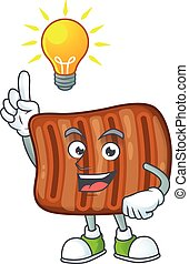 Roasted beef mascot character design with have an idea cute gesture