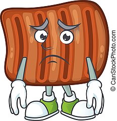 Roasted beef mascot design style with worried face