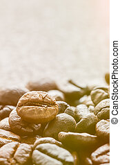 Roasted brown coffee beans with sunlight