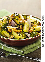 Roasted brussels sprouts dish - Vegetarian bowl of roasted...