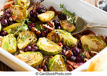 roasted brussels sprouts with grapes, nuts and balsamic ...