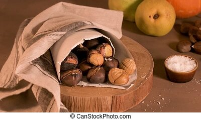 Roasted chestnuts in a paper cone