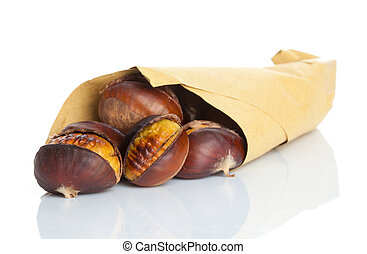 Roasted chestnuts on white back ground