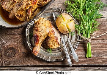 Roasted chicken and jacket potato