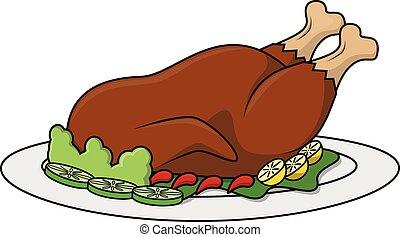 Roasted chicken cartoon