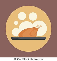 Roasted chicken icon.